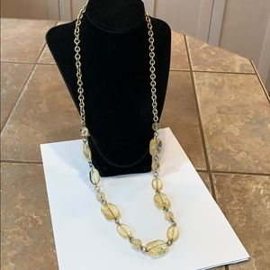 Talbots cracked art glass gold tone chain link